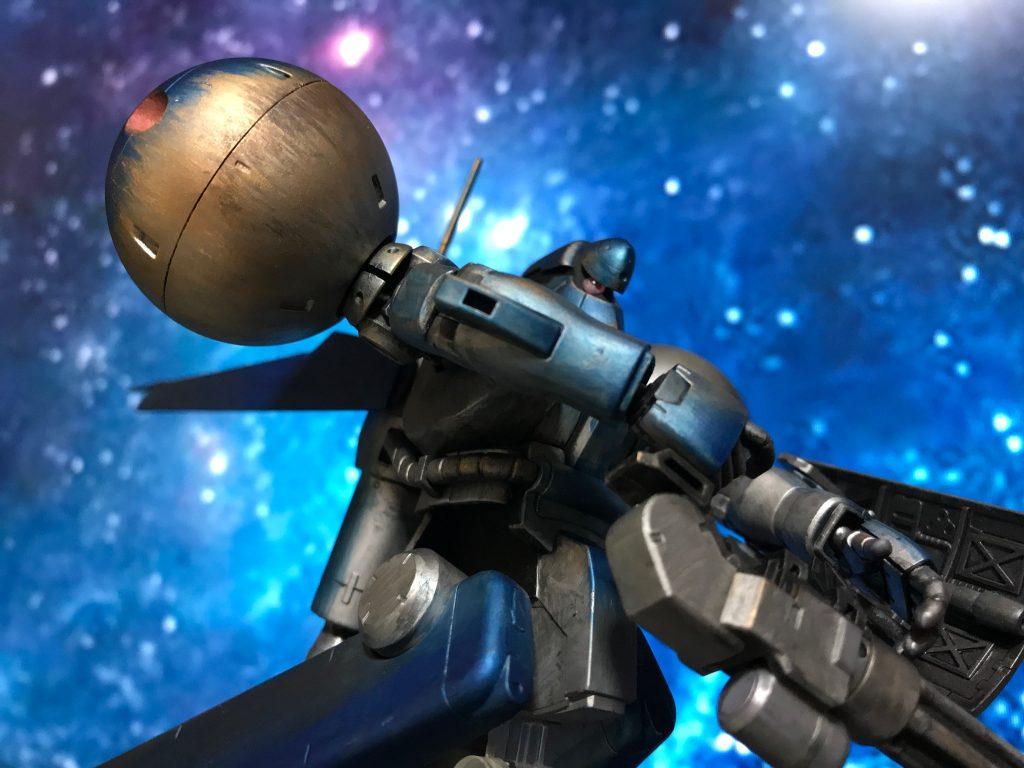 モノアイは額を取り外して移動する構造にしました。 機動戦士ガンダム0083STARDUST MEMORYを見て一目惚れした機体です。 ぎゅんぎゅん動くモノアイにやられました(=´∀`)