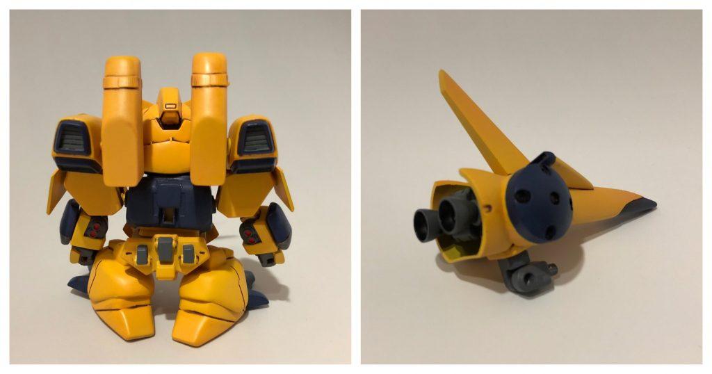 後姿は資料がない為、オリジナルになります。肩とミサイルポッドが一体化されている為、通常のズサとは異なる構造にしました。