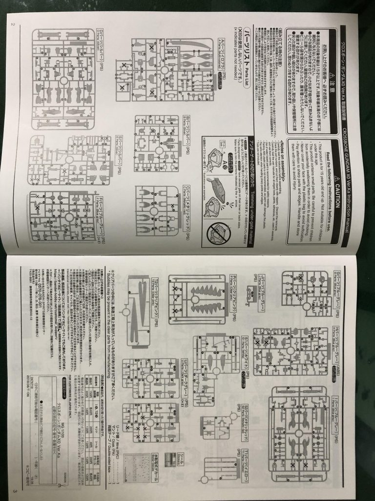 MG クロスボーンバンガードXO Ver.Ka 制作工程2