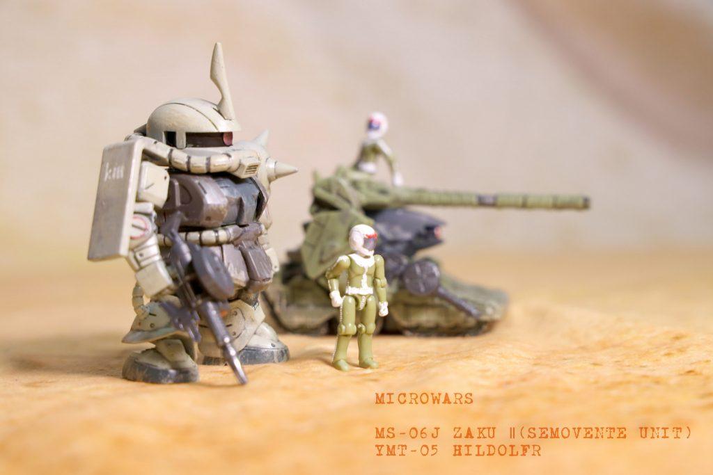 マイクロウォーズ ザクⅡ(セモベンテ隊仕様)+ヒルドルブ