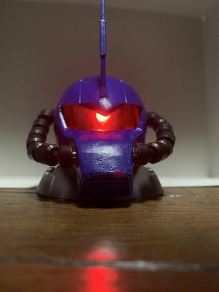 LEDモノアイ搭載、グフヘッド!(ザクヘッド改造)