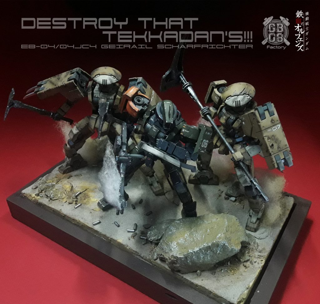 """Destroy that Tekkadan's"" 144 Hg Geirail Diorama"