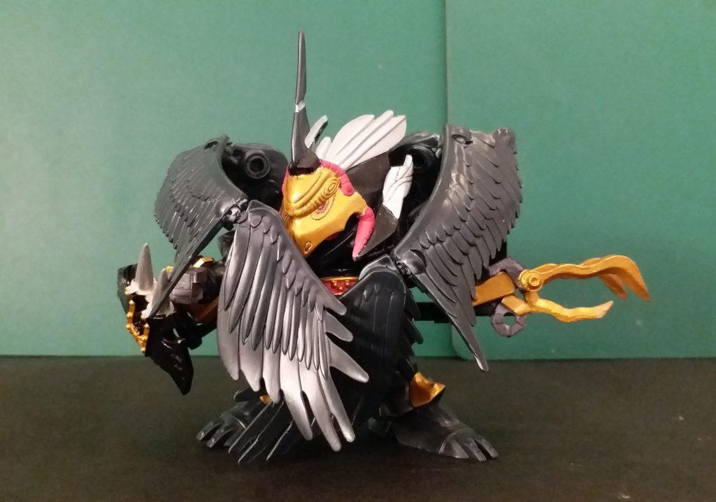 續三……我的百鬼夜行的第一個.滑鬼頭若殺驱後,第2個.大鬼般若道拉士(ドラc,特拉傑), 現在第3個.百鬼之一,鴉天狗劍舞飛荒😅,他加入翅膀源自於漫畫一幕